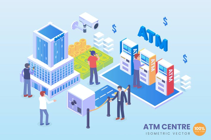 Thumbnail for Isometric ATM Centre Vector Concept