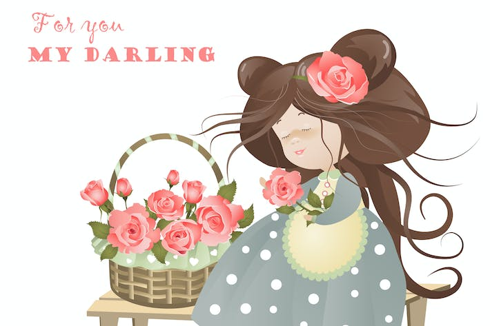 Thumbnail for Girl with basket of roses. Vector greeting card