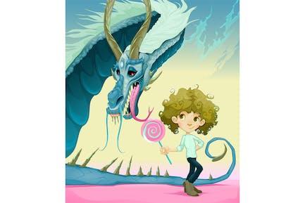 Amistad entre el chico y el dragón