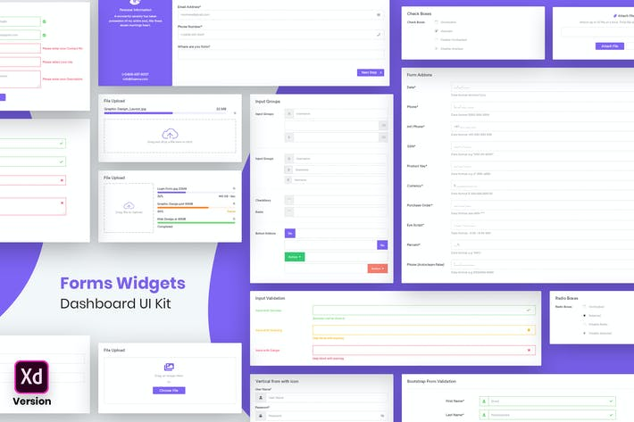 Thumbnail for Forms Widgets Dashboard Ui Kit (XD)