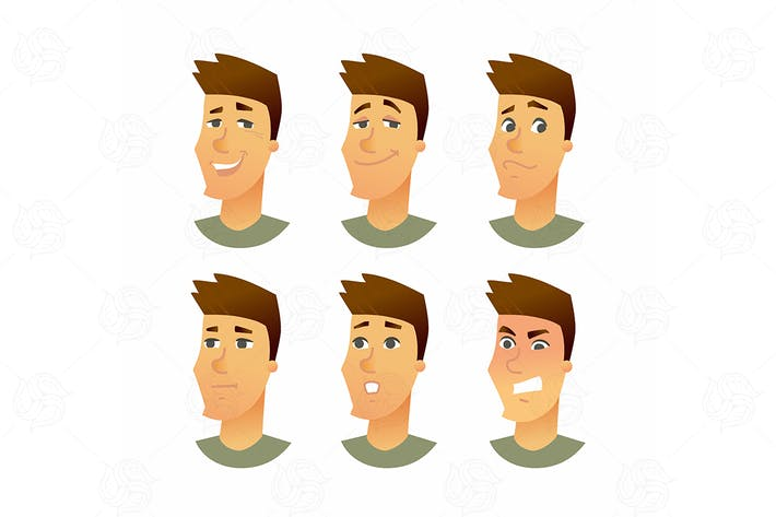Cover Image For Male Facial Expressions - vector illustration