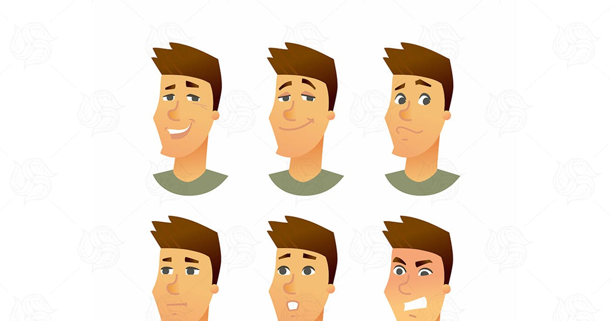 Male Facial Expressions - vector illustration by BoykoPictures