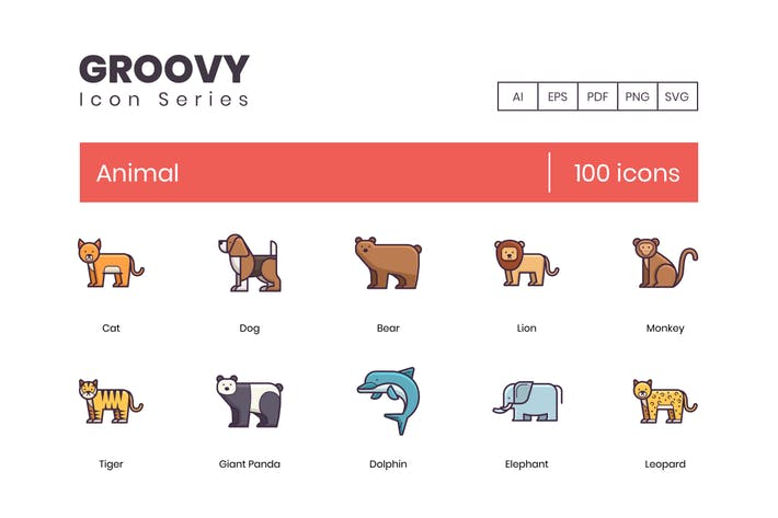 100 Animals Line Icons