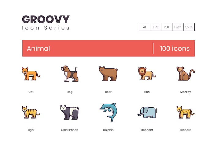 Thumbnail for 100 Animals Line Icons