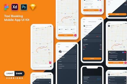 Taxi Booking Mobile App UI (Light & Dark)
