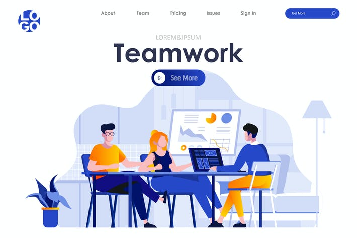 Thumbnail for Teamwork Landing Page Flat Concept