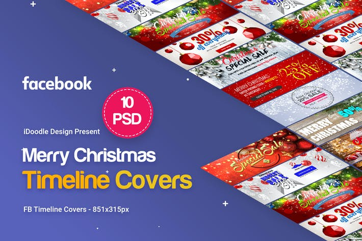 Thumbnail for Merry Christmas FB Covers - 10 PSD