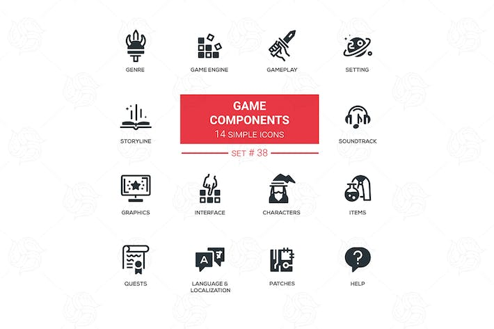Thumbnail for Game Components - vector flat design pictograms