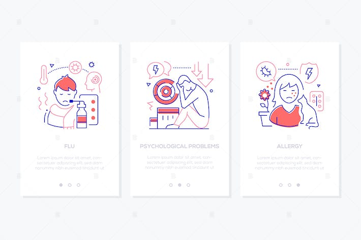 Thumbnail for Health problems line design style web banners