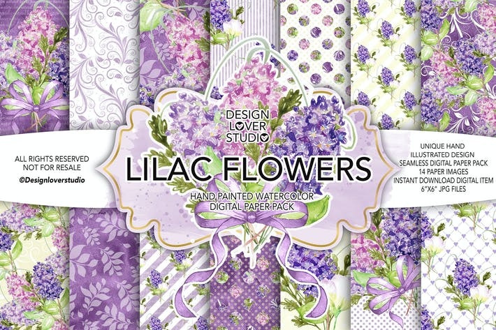 Thumbnail for Watercolor LILAC digital paper pack