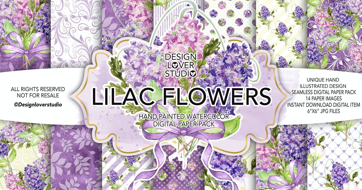 Download Watercolor LILAC digital paper pack by designloverstudio