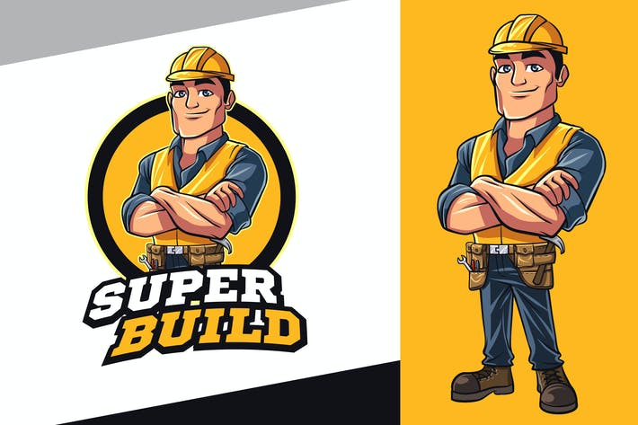 Thumbnail for Contractor - Construction Worker Mascot Logo