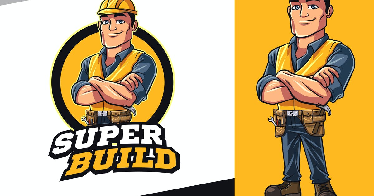 Download Contractor - Construction Worker Mascot Logo by Suhandi