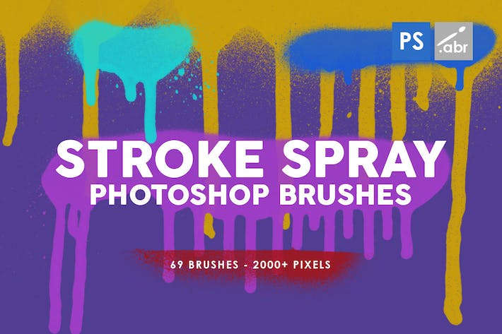 Cover Image For 69 Stroke Spray Photoshop Stamp Brushes
