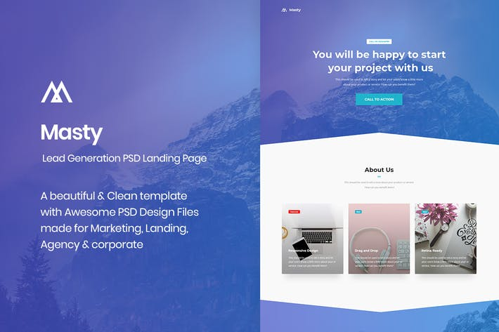 Thumbnail for Masty - Lead Generation PSD Landing Page