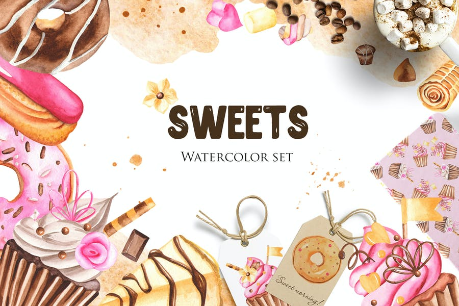 Watercolor Sweets Clipart, frames, cards, patterns