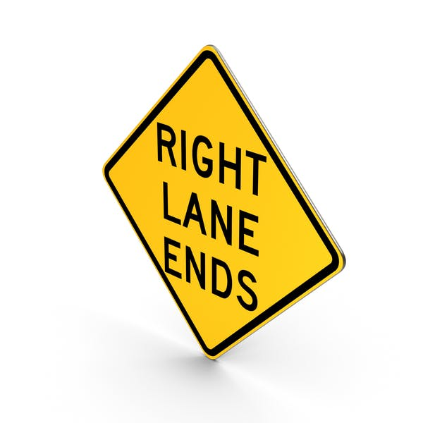 Right Lane Ends Road Sign
