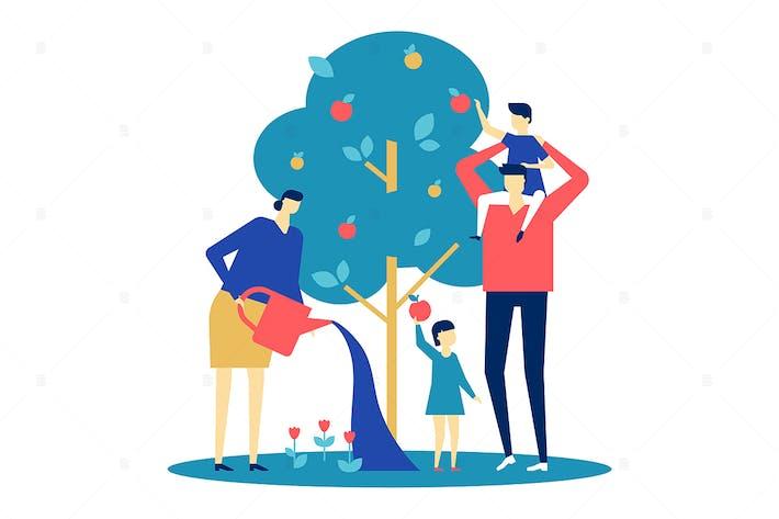 Thumbnail for Happy family - flat design style illustration