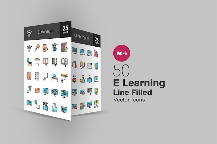 Thumbnail for 50 E Learning Filled Line Icons