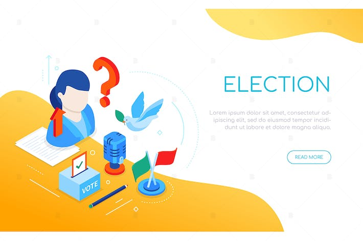 Thumbnail for Election and voting - isometric web banner