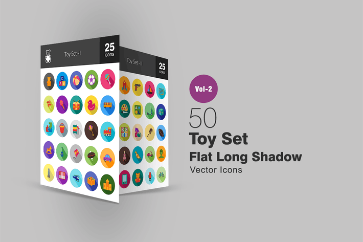 Thumbnail for 50 Toy Set Flat Long Shadow Icons