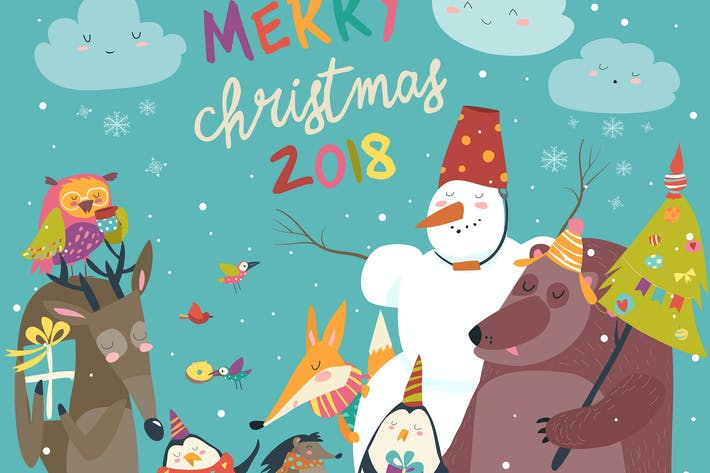 Happy animals celebrating Christmas. Vector