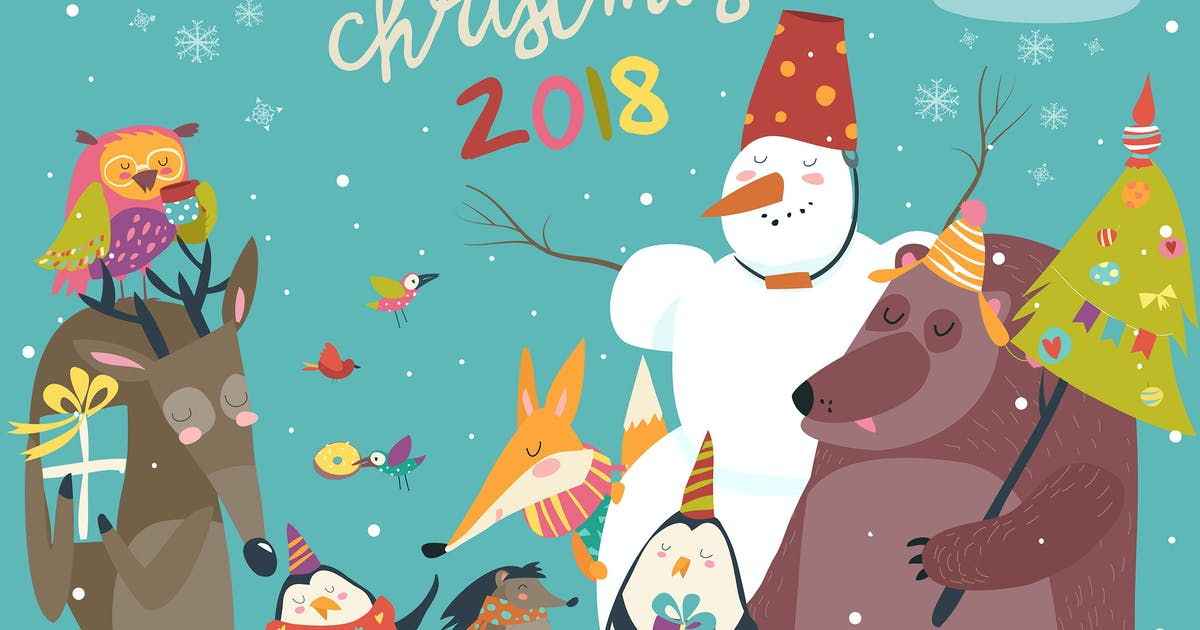 Download Happy animals celebrating Christmas. Vector by masastarus