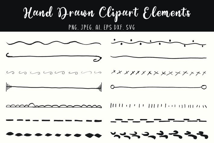 Thumbnail for Hand Drawn Divider Elements Clipart