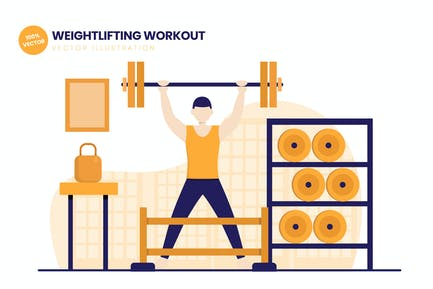 Weightlifting Workout Gym Flat Vector Illustration