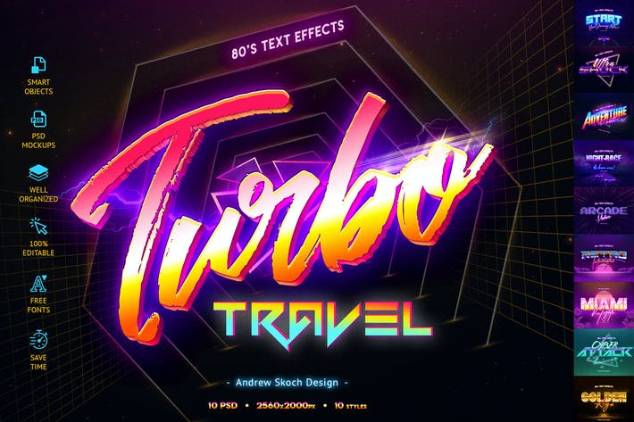 Cover Image For 80's Retro Text Effects vol.2