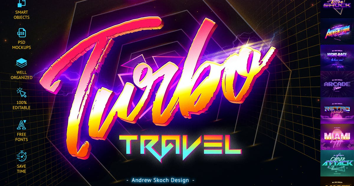 Download 80's Retro Text Effects vol.2 by Sko4