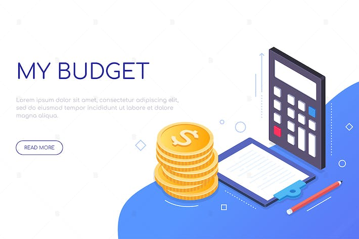 Thumbnail for My budget - modern colorful isometric web banner