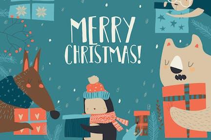 Vector de dibujos animados felices animales celebración de