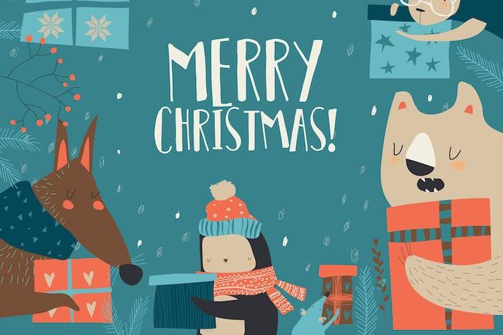 Thumbnail for Vector cartoon happy animals holding Christmas