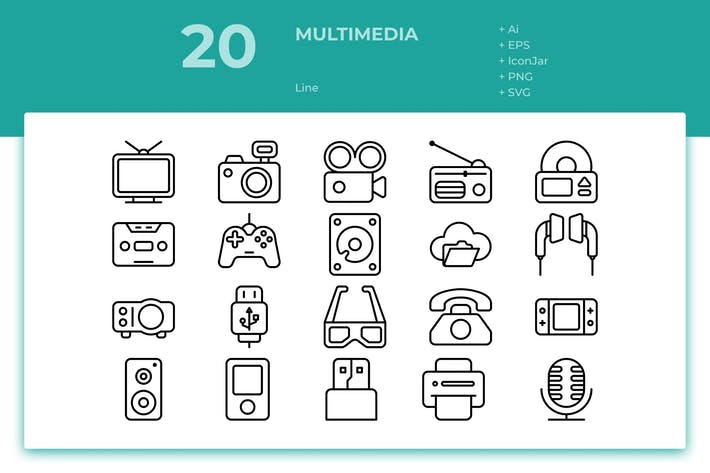 Thumbnail for 20 Multimedia Icons (Line)