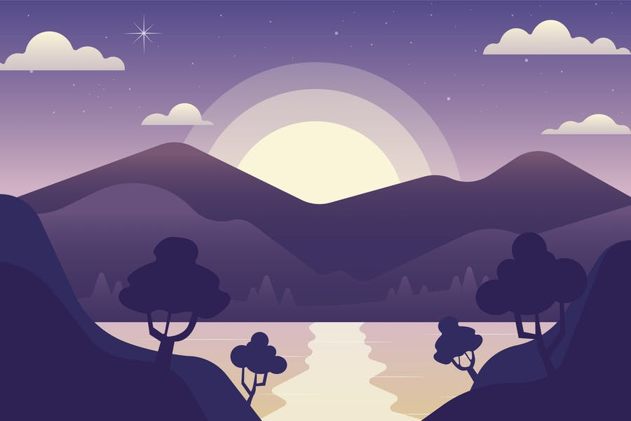 Mountain Twilight - Landscape Illustration