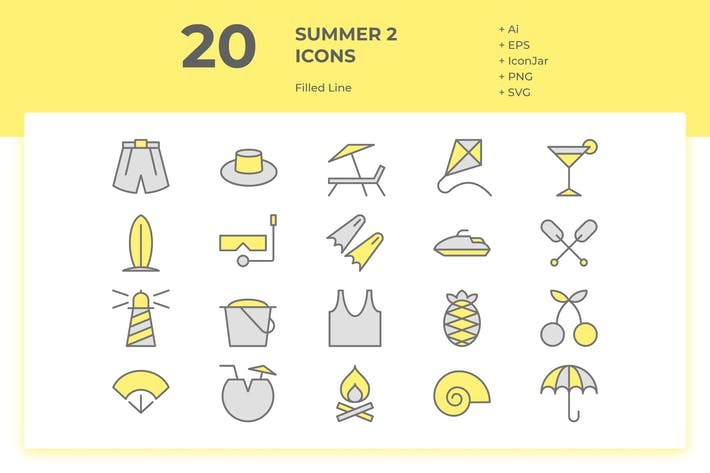 Thumbnail for 20 Summer Icons Vol. 2 (Filled Line)