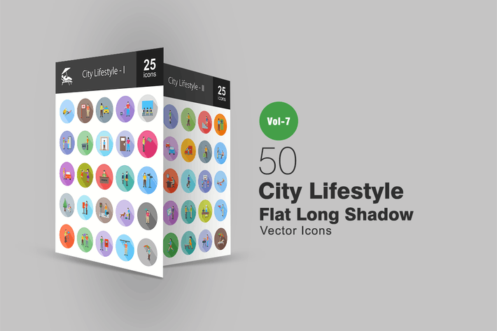 Thumbnail for 50 City Lifestyle Flat Shadowed Icons