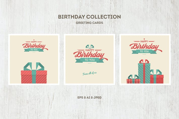 Thumbnail for Birthday Cards Vector Collection