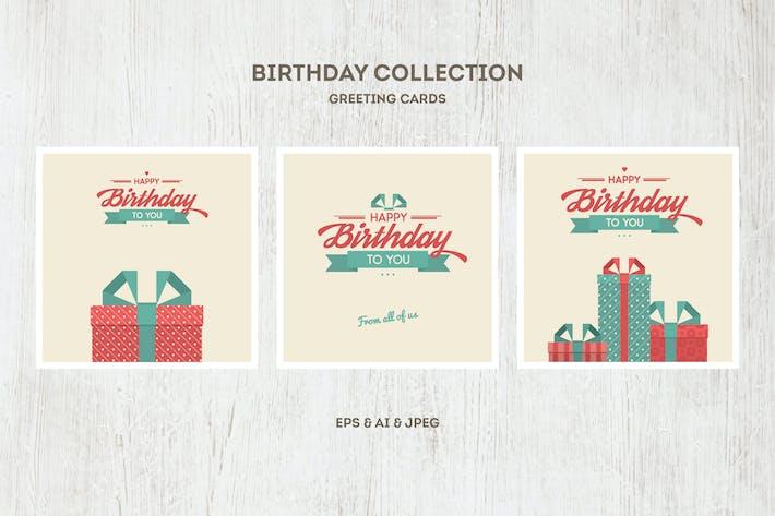Вектор Коллекция открыток на день рождения