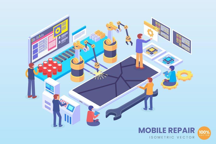 Isometric Mobile Phone Repair Vector Concept