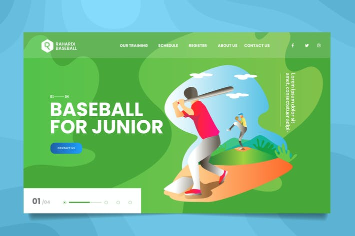 Thumbnail for Baseball League Web Header PSD & Vector Template