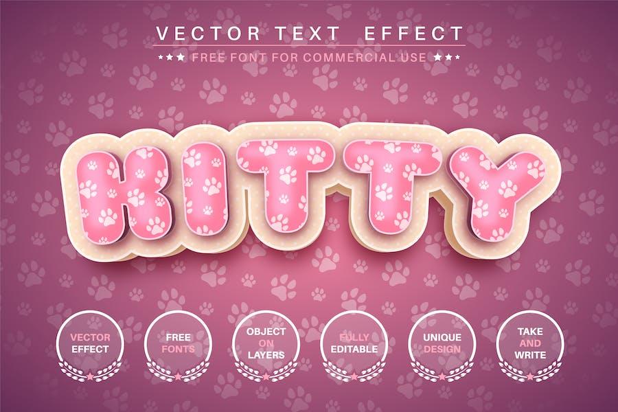3D cat - редактируемый текстовый эффект, стиль шрифта