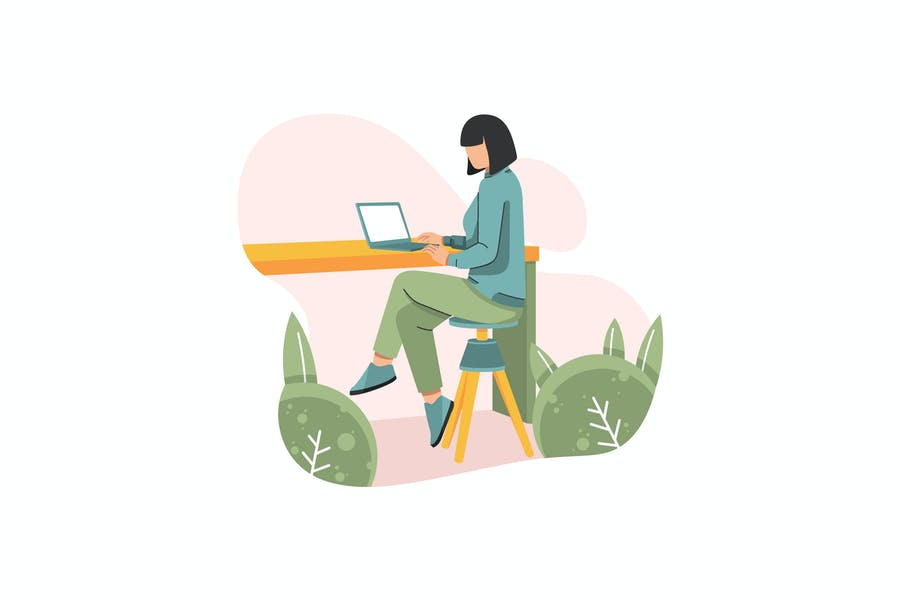 Young women and laptop illustration
