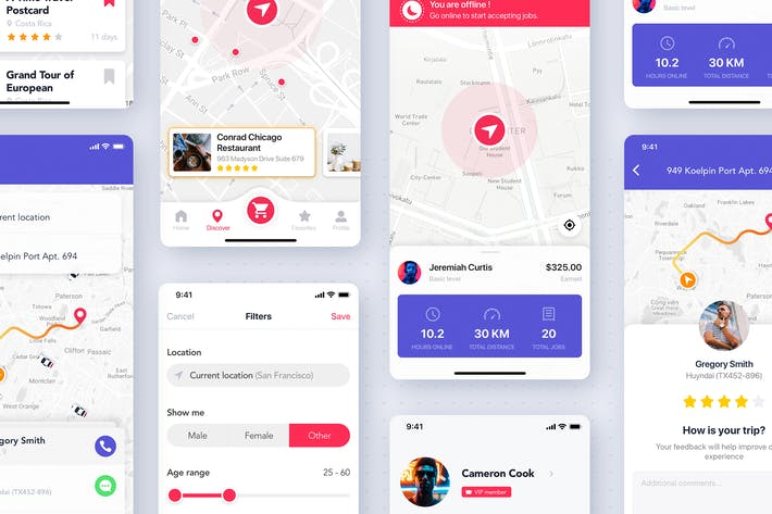 Thumbnail for Maps & Search Mobile UI Kit