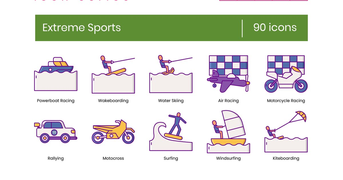 Download 90 Extreme Sports Line Icons by Krafted