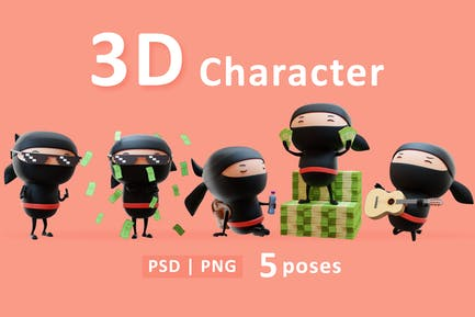 Set of 3D Ninja Characters Different Actions