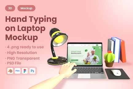 3D Hand Typing on Laptop Mockup