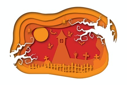 Halloween Church - Vector Paper Cut illustration