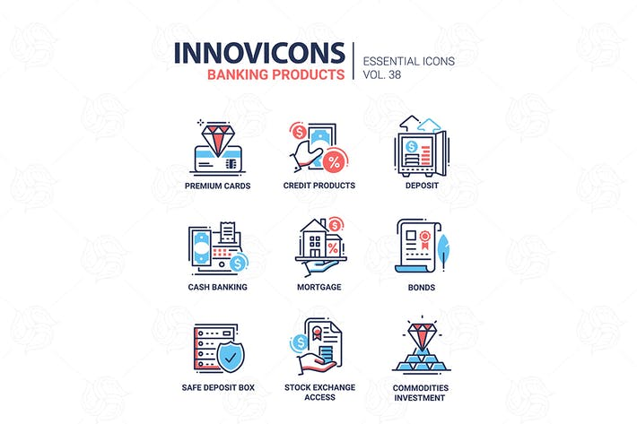 Thumbnail for Banking Products - vector line design icons set